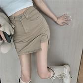 開叉牛仔半身裙女春夏2021新款高腰顯瘦裙子性感包臀a字短裙ins風 夢幻小鎮「快速出貨」