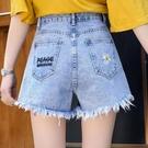 牛仔短褲女2021年夏季新款寬松INS潮高腰小雛菊薄款A字闊腿牛仔褲