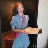 2021年新款工裝高腰牛仔連身褲套裝女夏裝韓版學生連衣褲短褲 米娜小鋪