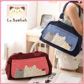 側背包~Le Baobab日系貓咪包 啵啵貓三人行橫條側背包/肩背包/手提包/拼布包包