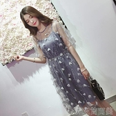 洋裝夏裝新款短袖胖mm吊帶背心兩件套中長款胖妹妹減齡網紗連身裙 快速出貨