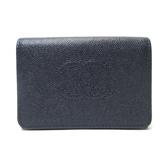 CHANEL 香奈兒 藍黑色魚子醬雙開按釦短夾 Timeless CC Compact Wallet【BRAND OFF】