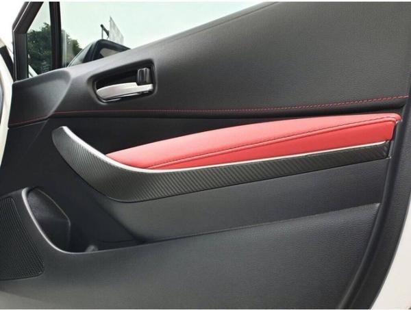 TOYOTA豐田【AURIS Corolla Sport前內門把手卡夢貼】內門拉手把貼 鏡面黑飾板卡夢貼