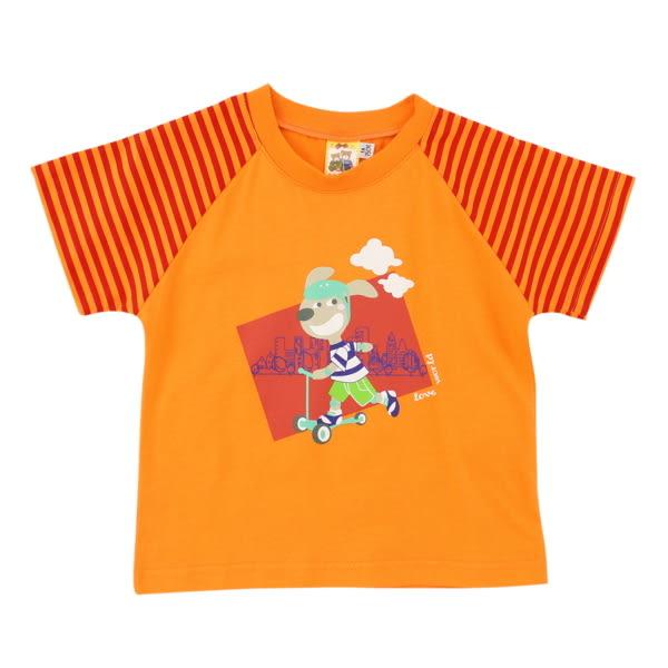 【愛的世界】純棉圓領條紋袖口短袖T恤/1~3歲-台灣製- ★春夏上著