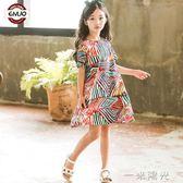 洋裝超洋氣童裝女童夏裝新款連身裙子中大童韓版小女孩公主裙 一米陽光