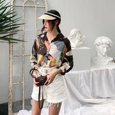 2018夏季新款韓范復古長袖襯衫上衣女裝花色雪紡襯衣  enjoy精品