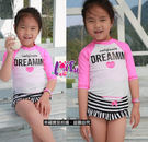 ★草魚妹★F45兒童泳衣愛心粉色系三件式兒童泳衣小朋友游泳衣泳裝,售價590元