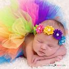 寶寶彩色澎澎紗裙 珍珠花朵髮飾 攝影寫真 滿月 百日