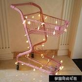 粉色雙層超市購物車商場家用KTV手推車拍照道具網紅店裝飾小推車 【全館免運】