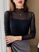 秋冬裝半高領長袖網紗打底衫純色修身蕾絲上衣大碼內搭T恤小衫女 可然精品