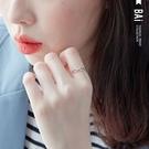 戒指 鎖鏈波浪刻紋925銀C型開口戒指-...