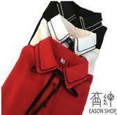 EASON SHOP(GU1129)紅色花邊領蝴蝶結綁帶長袖白襯衫S-2XL黑色女上衣裝雪紡黑白撞色挺合身工作上班