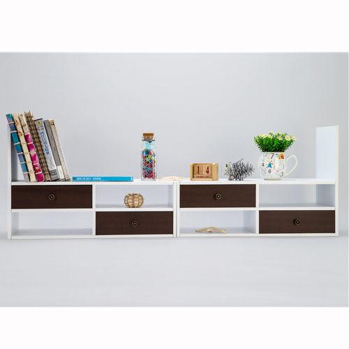 《TWO TONE》機能桌上型伸縮收納櫃 (白+胡桃)