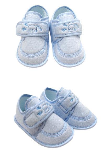 【奇買親子購物網】黃金海獺WOWOCHAN繡花嬰兒學步鞋(水藍/粉紅)
