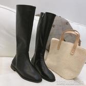 網紅瘦瘦靴女秋冬韓版方頭低跟不過膝長靴子高筒黑色騎士皮靴 凱斯盾