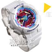 BA-112-7A 卡西歐 CASIO Baby-G BA-112-7ADR 雙顯錶 紅色液晶 白色橡膠 46mm 女錶 時間玩家