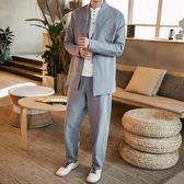 棉麻套裝 春季亞麻漢服兩件套中國風復古青年棉麻唐裝中式套裝男中山裝【全館限時八折搶購】