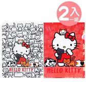〔小禮堂〕Hello Kitty 日製L 型文件夾組《2 入A4 紅白貓咪》資料夾L 夾檔案夾4991567 26420