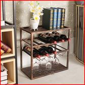 酒架 歐式家用客廳迷你小酒架置物架落地簡易紅酒櫃展示架子鐵藝酒瓶架jy 【快速出貨八折】