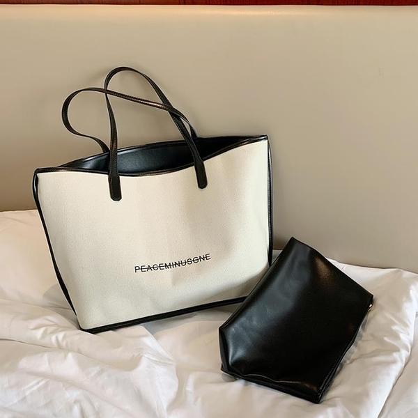 帆布包 上新包包女包夏季潮百搭大容量單肩包時尚帆布手提托特包-Milano米蘭