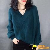 長袖針織衫 韓版毛衣女套頭寬鬆寬版大碼加厚V領針織衫女【happybee】