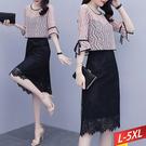 鋸齒蕾絲花袖綁帶拼接洋裝 L~5XL【913325W】【現+預】-流行前線-