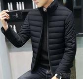 棉襖子男反季冬裝羽絨棉服輕薄款棉衣秋冬季大碼短款立領夾棉外套