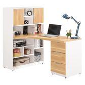 【森可家居】卡爾5尺L型書桌(右向) 8CM686-8 多功能 含書櫃