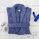【簡單工房】經典浴袍-霧灰藍(身長105cm 100%棉 台灣製)