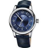 ORIS 豪利時 Classic 經典大三針都會機械手錶-藍/42mm 0173375944035-0752085