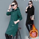 中大尺碼衛衣洋裝 中長款女連帽新款秋冬季韓版潮寬鬆綠色套頭加厚外套 DR6738【KIKIKOKO】