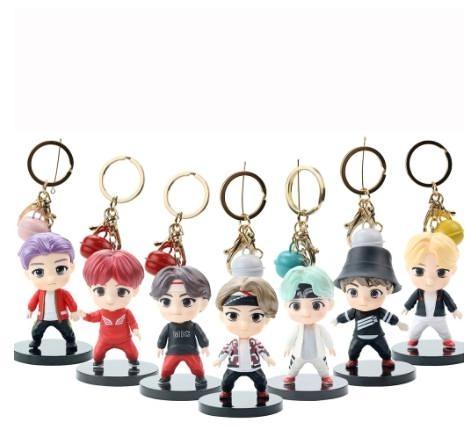 2代防彈少年團BTS公仔鑰匙圈 矽膠繩 鑰匙扣 明星款 卡通掛飾