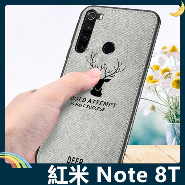 Xiaomi 小米 紅米機 Note 8T 麋鹿布紋保護套 軟殼 浮雕壓紋 牛仔絨布 可掛繩 全包款 手機套 手機殼