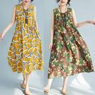 棉麻洋裝夏裝新款復古寬鬆背心裙民族風大碼亞棉麻吊帶打底碎花無袖連身裙 迷你屋