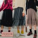 女童裙子 釘珠荷葉裙襬網紗半身裙 韓國外貿中大童 QB allshine