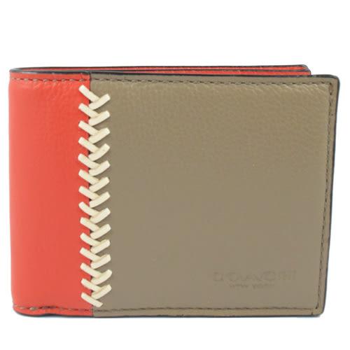 茱麗葉精品 【降價出清】COACH 75178 撞色編織短夾.灰/紅(簡易式)