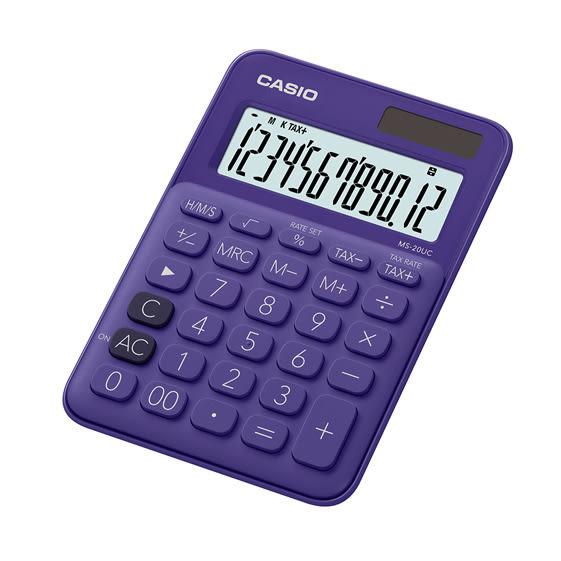 CASIO 馬卡龍計算機/12位元/MS-20UC-PL葡萄紫