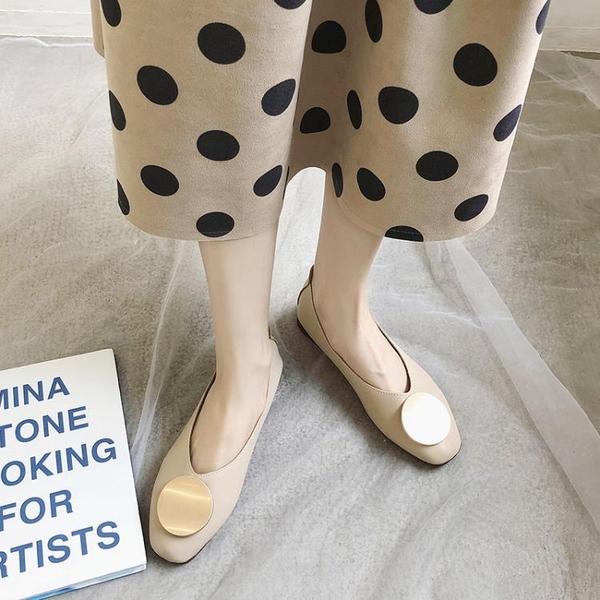 豆豆鞋秋季新款復古方頭奶奶鞋網紅淺口溫柔風單鞋外穿豆豆鞋女鞋子 交換禮物