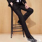 西裝褲修身西褲男士商務正裝寬鬆直筒休閒小腳西裝褲黑色西服褲子 伊蒂斯女裝