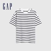 Gap男童 厚磅密織系列碳素軟磨 純棉短袖T恤 755463-藍白條紋