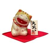 京都職人和紙大笑猫坐姿 虎紋