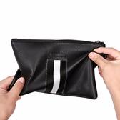 條紋男士收納零錢手腕包 信封包多卡位長款皮質大容量手拿包拉鏈潮流 男長夾商務男手拿包