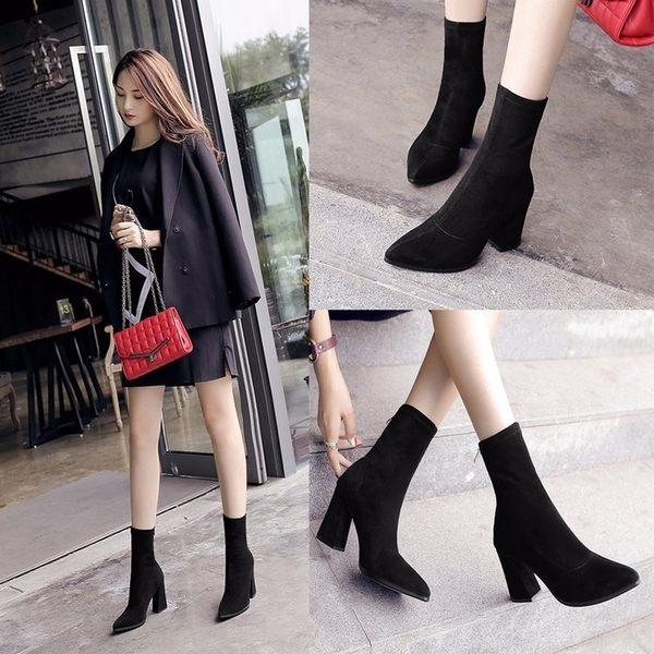 店長推薦▶短靴女粗跟彈力靴女鞋高跟尖頭中筒靴英倫風馬丁靴子
