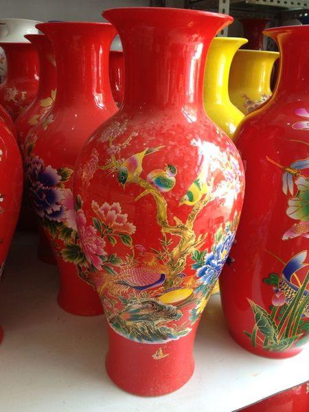 景德鎮陶瓷器紅色花瓶 婚慶工藝品擺件