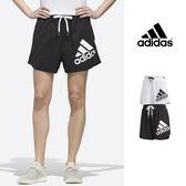 【GT】Adidas 黑 短褲 女款 尼龍 運動 休閒 抽繩 彈性 熱褲 愛迪達 Logo