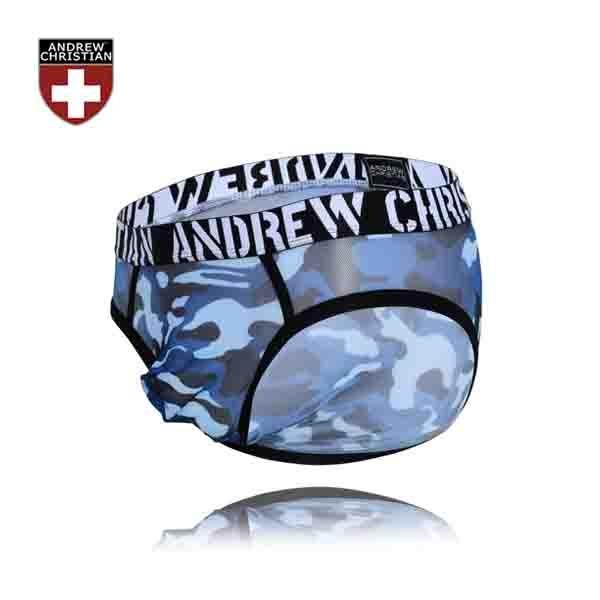 美國 ANDREW CHRISTIAN 輕薄迷彩藍赤裸囊袋低腰三角褲 TROOP SHEER BRIEF WITH ALMOST NAKED
