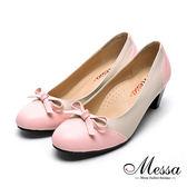 【Messa米莎專櫃女鞋】MIT可愛彩帶異材質拼接內真皮高跟鞋-粉紅色
