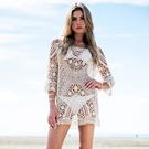 罩衫 鏤空 針織 長袖 連身裙 沙灘 比基尼 罩衫【ZS025】 BOBI  04/26