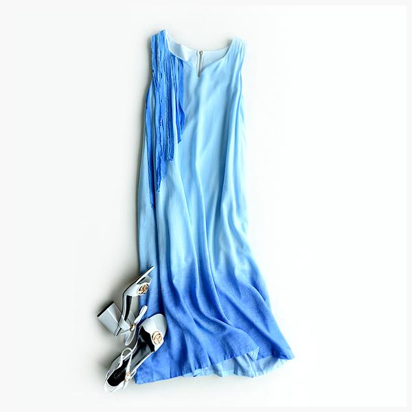 [超豐國際]W    微次 拼色貼布 漸變 棉麻 無袖連衣裙