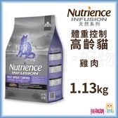Nutrience紐崔斯『 INFUSION天然高齡體控貓 (雞肉)』1.13kg【搭嘴購】